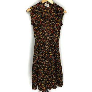 Joan Miller For Glen Vintage Black Floral Dress